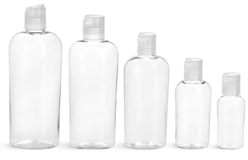 PET Plastic Bottles, Clear Cosmo Ovals w/ Natural Disc Top Caps