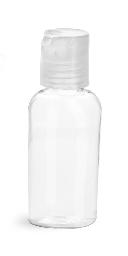 1 oz Clear PET Cosmo Ovals w/ Natural Disc Top Caps