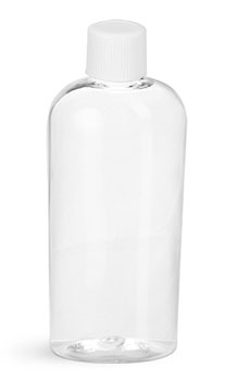 Plastic Bottles, Clear PET Cosmo Ovals w/ White Ribbed Lined Caps
