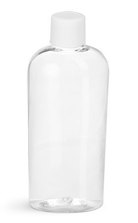 PET Plastic Bottles, Clear Cosmo Ovals w/ White Ribbed Caps