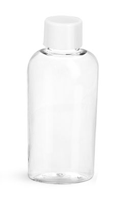 PET Plastic Bottles, Clear Cosmo Ovals w/ White Smooth Caps