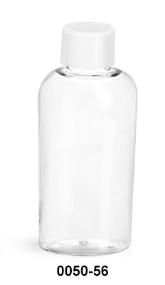 Plastic Bottles, Clear PET Cosmo Ovals w/ White Smooth Lined Caps