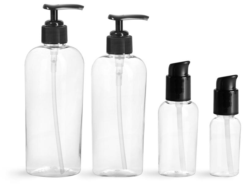 PET Plastic Bottles, Clear Cosmo Ovals w/ Black Pumps