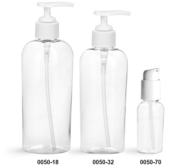 Plastic Bottles, Clear PET Cosmo Ovals with White Pumps