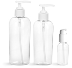 PET Plastic Bottles, Clear Cosmo Ovals w/ White Pumps