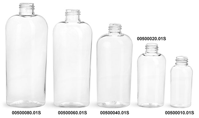 Plastic Bottles, Clear PET Cosmo Oval Bottles (Bulk), Caps Not Included