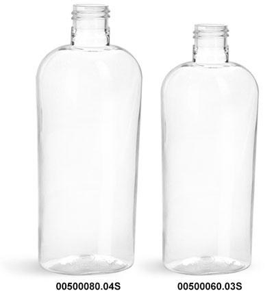 Plastic Bottles, Clear PET Cosmo Oval Bottles 24/415 (Bulk), Caps Not Included