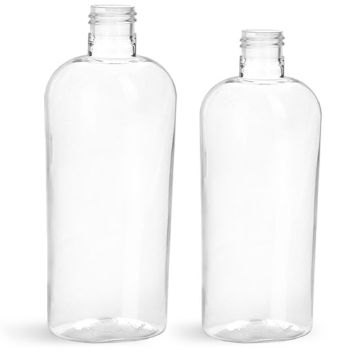 Clear PET Cosmo Oval Bottles (Bulk), Caps not included