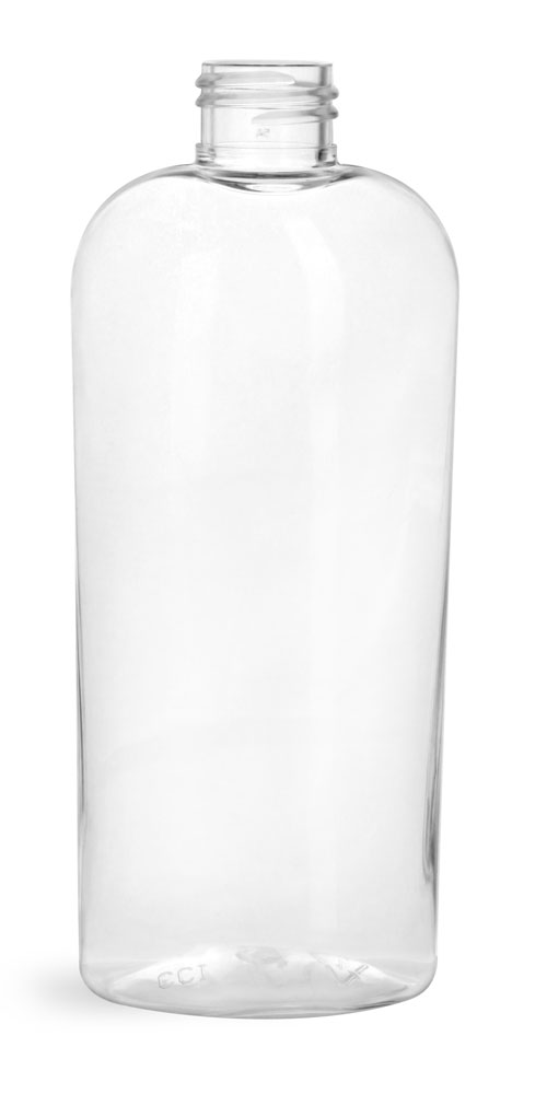 8 oz Clear PET Cosmo Ovals (Bulk), Caps Not Included