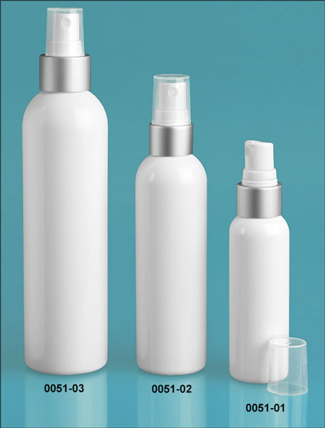 Plastic Bottles, White PET Cosmo Round Bottles w/ White Fine Mist Sprayers w/ Brushed Aluminum Collars