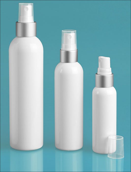 PET Plastic Bottles, White Cosmo Round Bottles w/ Silver/White Brushed Aluminum Sprayers
