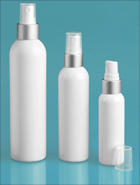 PET Plastic Bottles, White Cosmo Round Bottles w/ Silver/White Brushed Aluminum Sprayers