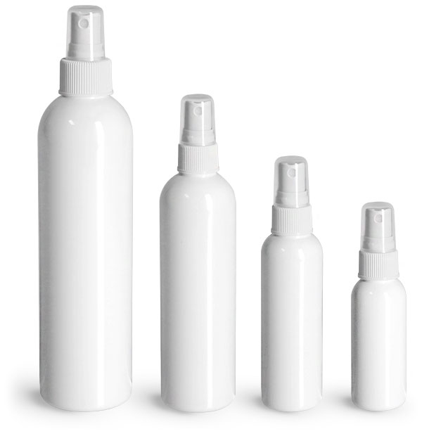 White PET Cosmo Round Bottles w/ White Sprayers