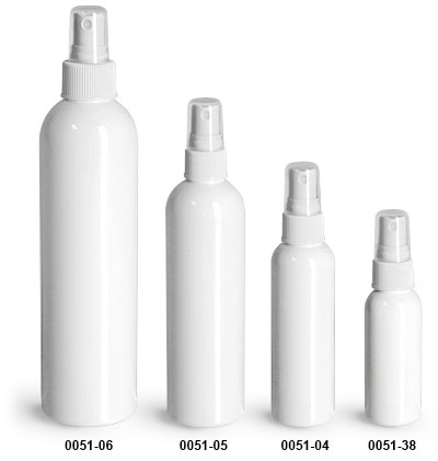 Plastic Bottles, White PET Cosmo Round Bottles w/ White Sprayers