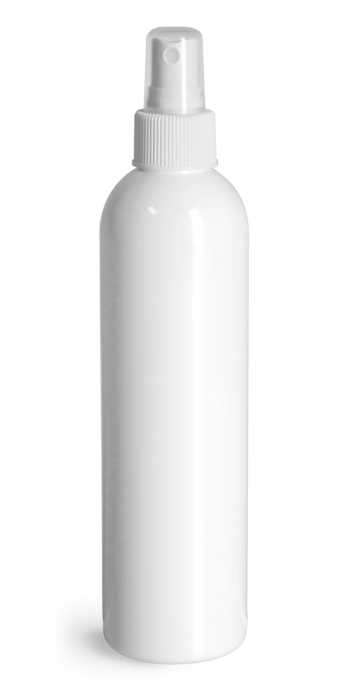8 oz White PET Cosmo Round Bottles w/ White Sprayers