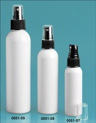 Plastic Bottles, White PET Cosmo Round Bottles w/ Black Sprayers