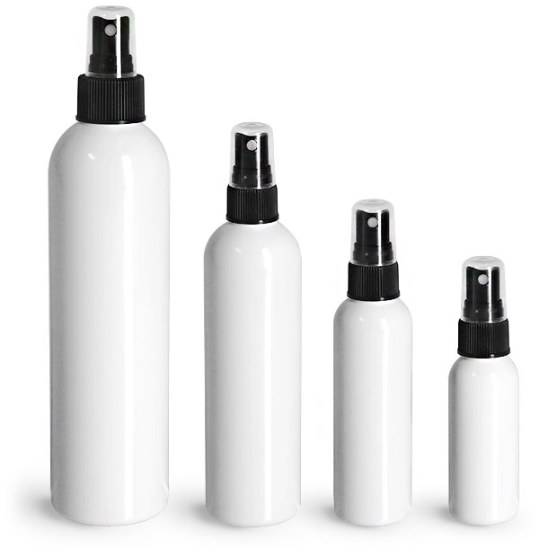 PET Plastic Bottles, White Cosmo Round Bottles w/ Black Sprayers
