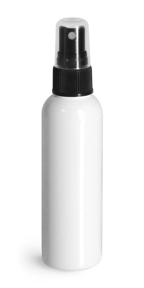 2 oz White PET Cosmo Round Bottles w/ Black Sprayers