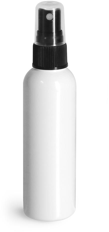 White PET Cosmo Round Bottles w/ Black Sprayers