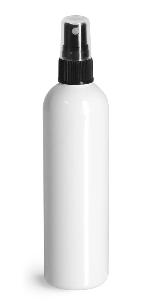 4 oz White PET Cosmo Round Bottles w/ Black Sprayers