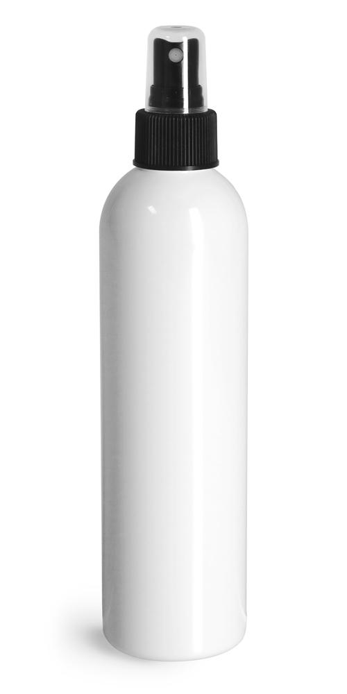 8 oz White PET Cosmo Round Bottles w/ Black Sprayers