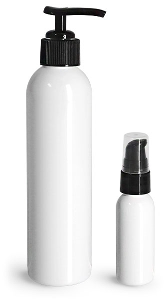 PET Plastic Bottles, White Cosmo Round Bottles w/ Lotion Pumps