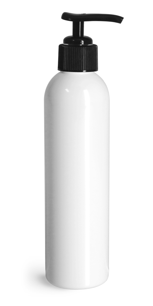 8 oz White PET Cosmo Round Bottles w/ Black Lotion Pumps