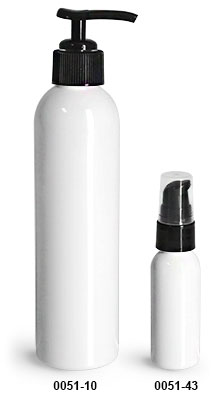 Plastic Bottles, White PET Cosmo Round Bottles w/ Lotion Pumps