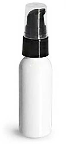 1 oz  Plastic Bottles, White PET Cosmo Round Bottles w/ Lotion Pumps