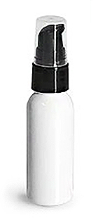 White PET Cosmo Round Bottles w/ Black Treatment Pumps