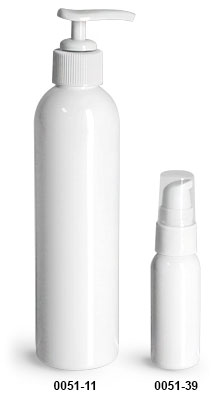 Plastic Bottles, White PET Cosmo Round Bottles w/ White Lotion Pumps