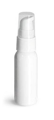 1 oz  Plastic Bottles, White PET Cosmo Round Bottles w/ White Lotion Pumps