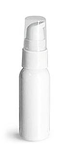 White PET Cosmo Round Bottles w/ White Treatment Pumps