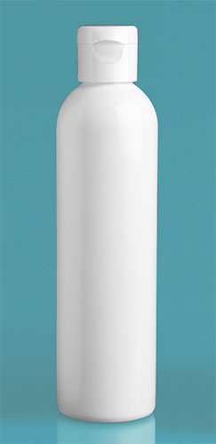 PET Plastic Bottles, White Cosmo Round Bottles w/ White Snap Top Caps