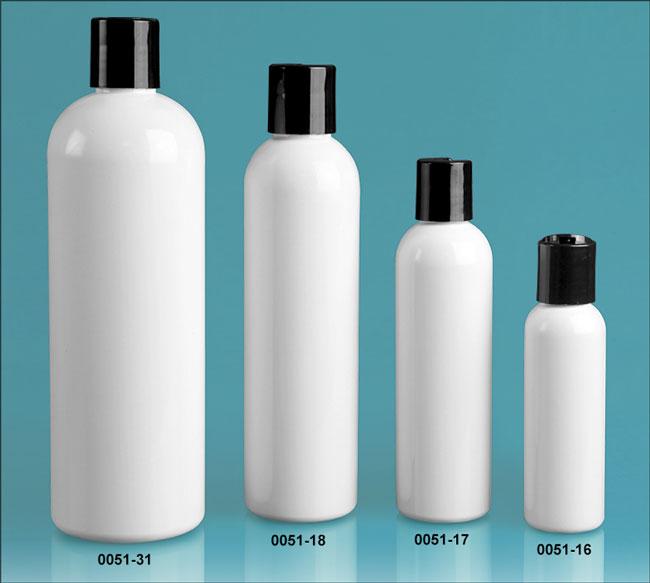 Plastic Bottles, White PET Cosmo Round Bottles w/ Black Disc Top Caps
