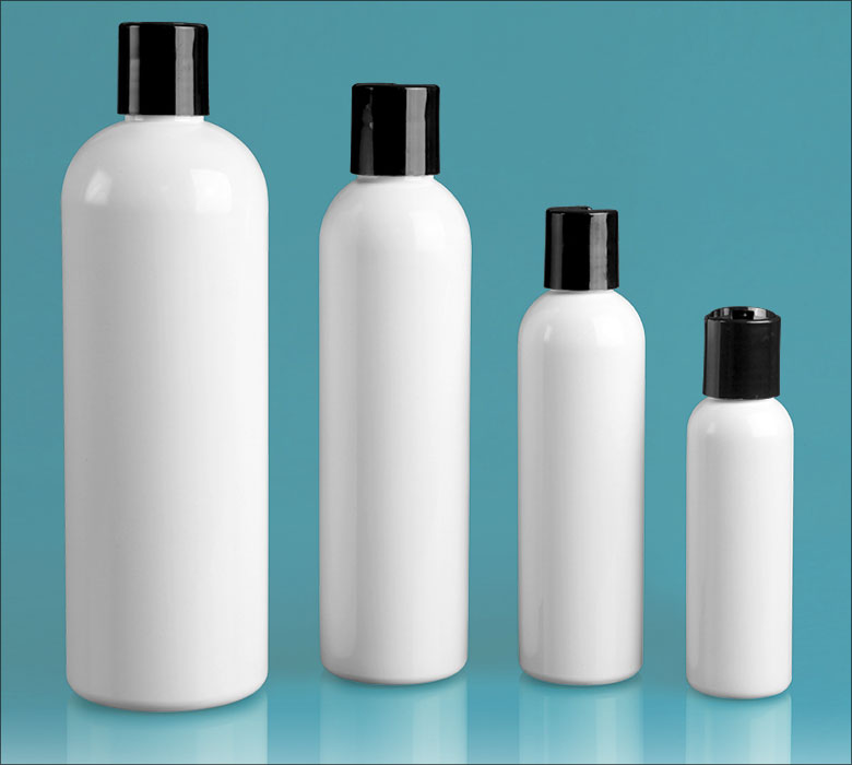 PET Plastic Bottles, White Cosmo Round Bottles w/ Black Disc Top Caps