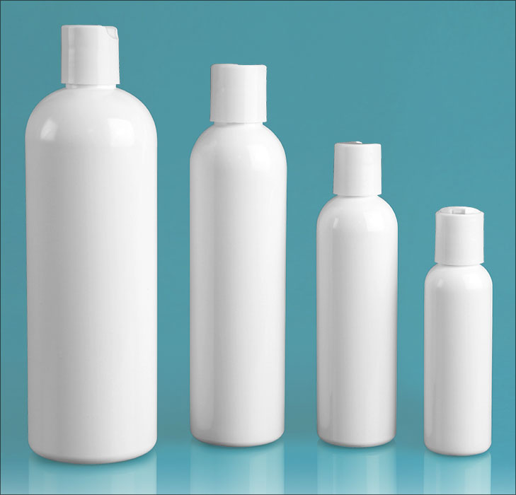 PET Plastic Bottles, White Cosmo Round Bottles w/ White Disc Top Caps