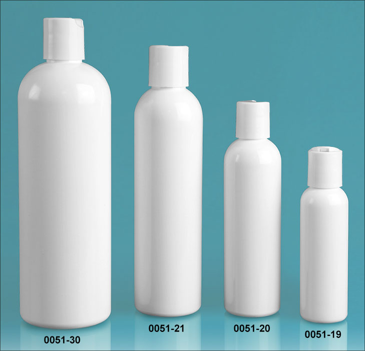 Plastic Bottles, White PET Cosmo Round Bottles w/ White Disc Top Caps