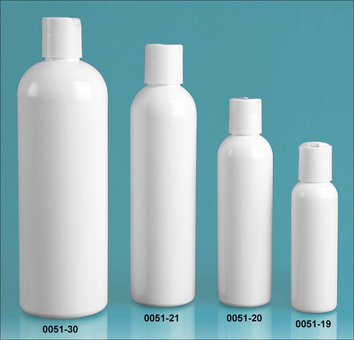 Plastic Bottles, White PET Cosmo Round Bottles w/ White Disc Top Caps