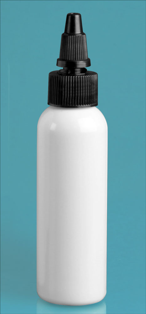 2 oz White PET Cosmo Round Bottles w/ Black Twist Top Caps