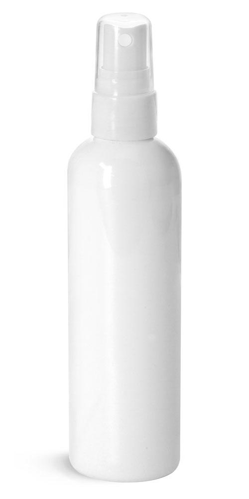 4 oz Plastic Bottles, White PET Cosmo Rounds w/ Smooth White Fine Mist Sprayers
