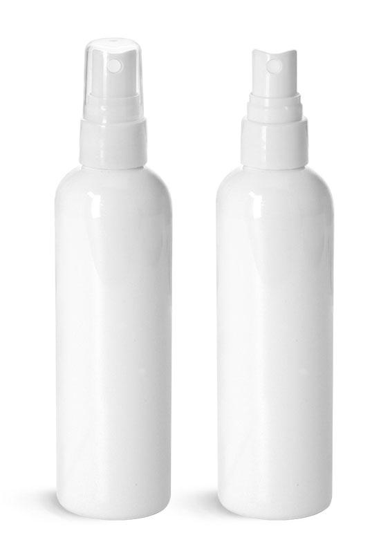 Plastic Bottles, White PET Cosmo Round Bottles w/ Smooth White Fine Mist Sprayers