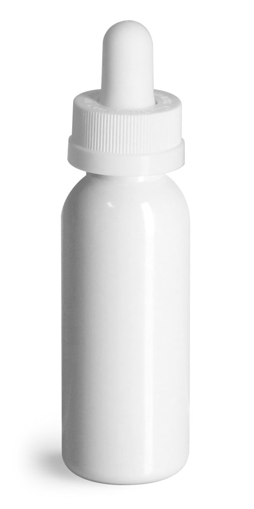 Plastic Bottles, White PET Cosmo Round Bottles w/ White Child Resistant Glass Droppers