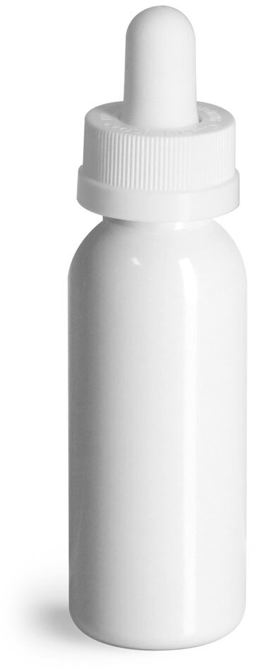 White CR Bulb Glass Droppers