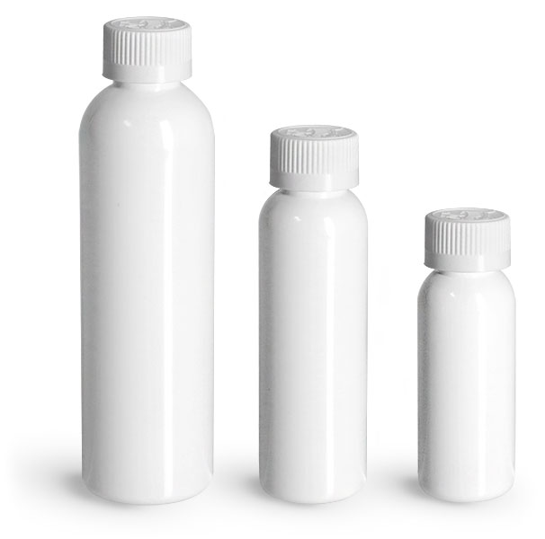 PET Plastic Bottles, White Cosmo Round Bottles w/ White Child Resistant Caps