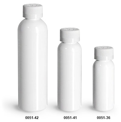 Plastic Bottles, White PET Cosmo Round Bottles w/ White Child Resistant Caps