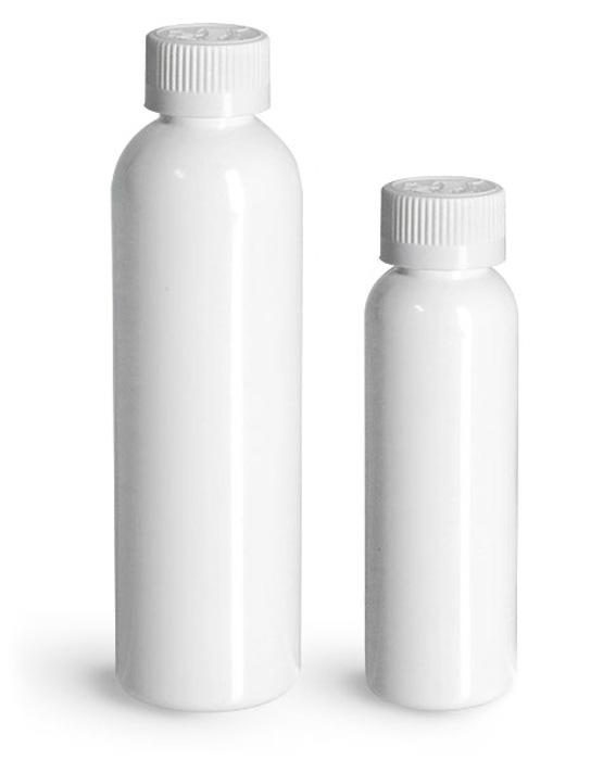 PET Plastic Bottles, White Cosmo Round Bottles w/ White Child Resistant Caps