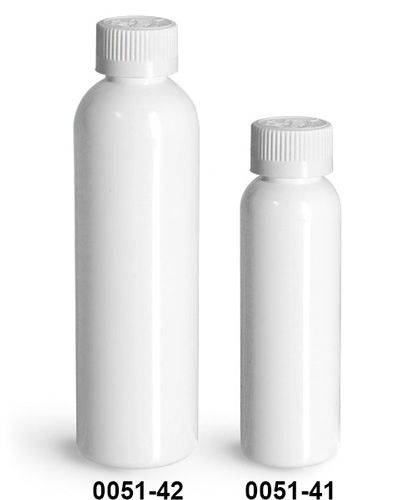 Plastic Bottles, White PET Cosmo Round Bottles w/ White Child Resistant Caps
