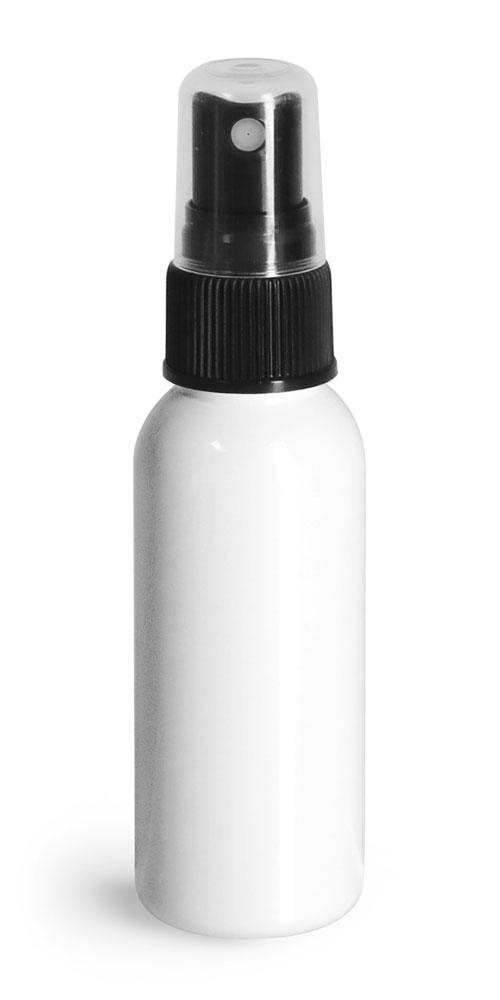 1 oz  Plastic Bottles, White PET Cosmo Round Bottles w/ Black Sprayers