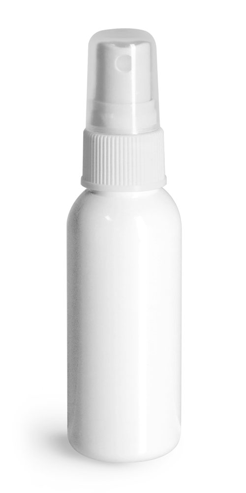 1 oz Plastic Bottles, White PET Cosmo Round Bottles w/ White Sprayers